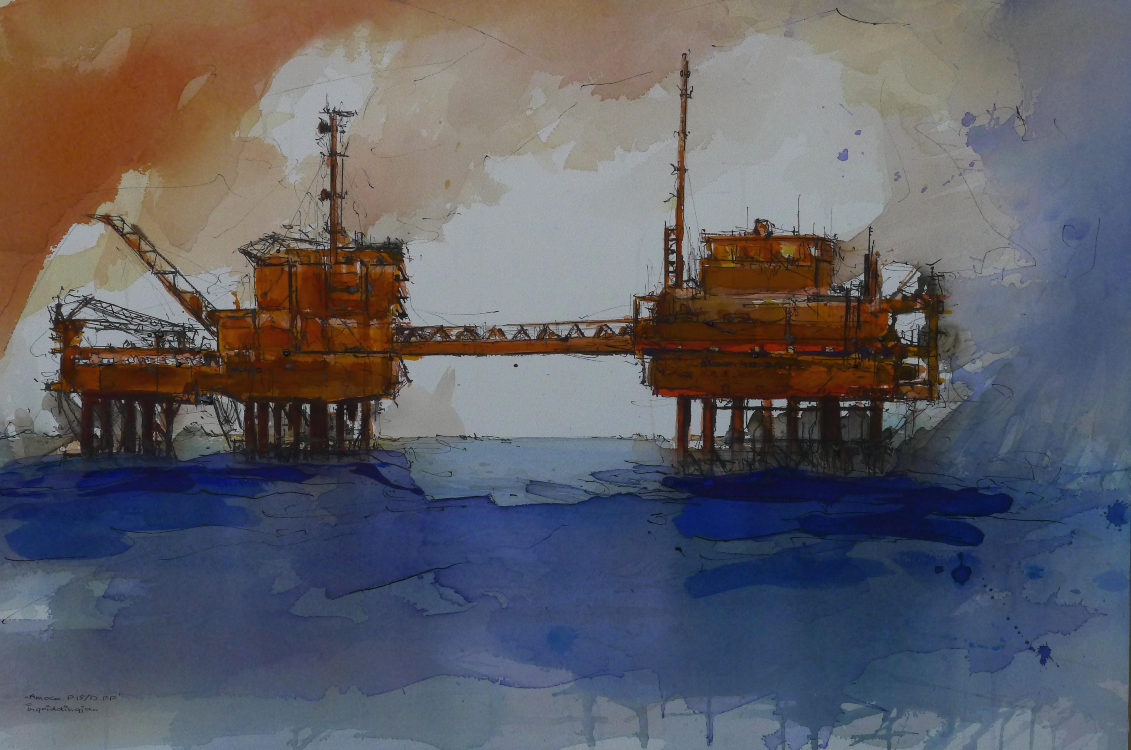 Ingrid Dingjan aquarel 70x90, werkeiland in de Noordzee